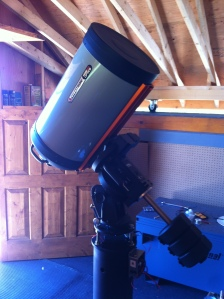 Telescope on the pier ready for testing.