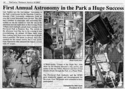 article about our first Astronomy in the Park in The Local