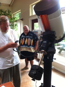 Centre President Mike Bradley and Past President Bill Clark with the new telescope
