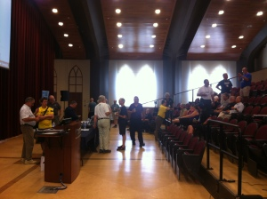 Taking a break at the AGM at  the McNally Auditorium at St. Mary's University