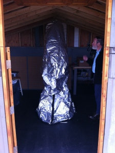 past resident Mike Bradley examining our new telescope cover